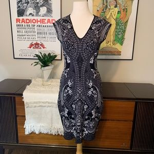 Adrianna Papell Tribal Knit Sweater Bodycon Dress